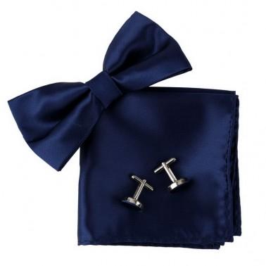 Noeud papillon bleu-marine, pochette et boutons de manchette