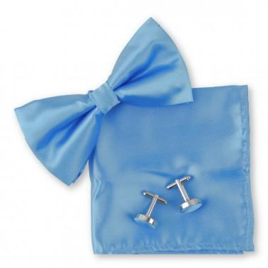Noeud papillon noué bleu-clair, pochette et manchettes