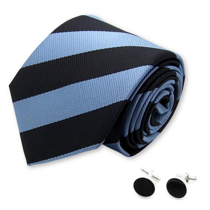 Cravate club bleu-métal et noire et ses manchettes