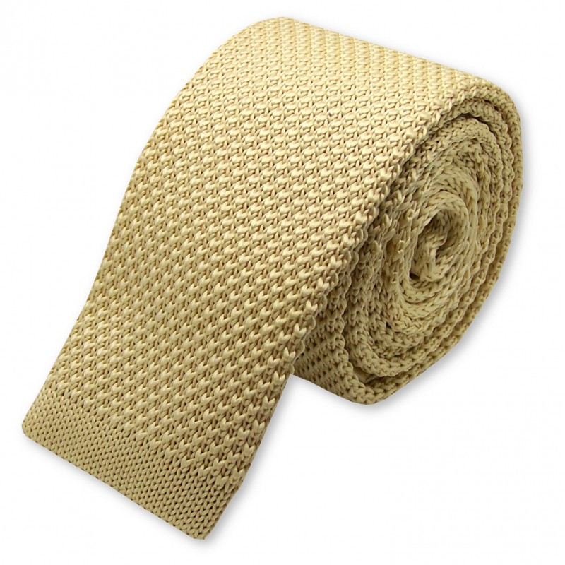 cravate tricot beige