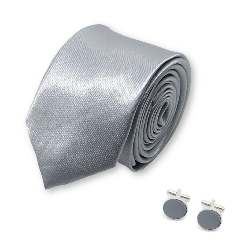 """Cravate slim """"argent"""" et boutons de manchette gris"""
