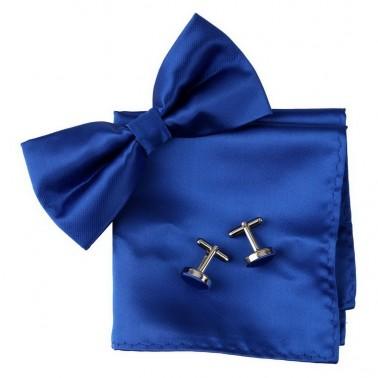 coffret noeud-papillon bleu-roi, pochette et manchettes