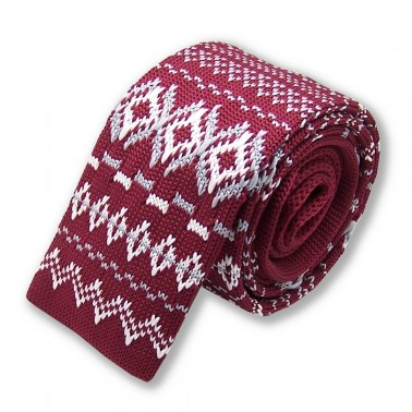 cravate tricot bordeaux et blanche, finitions main