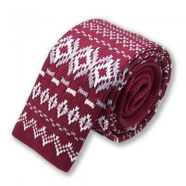 cravate-tricot-bordeaux-et-blanche à motifs