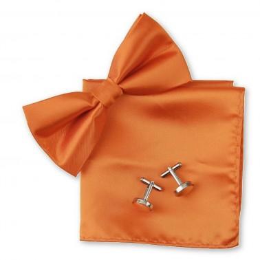 Noeud papillon orange, pochette et boutons de manchette