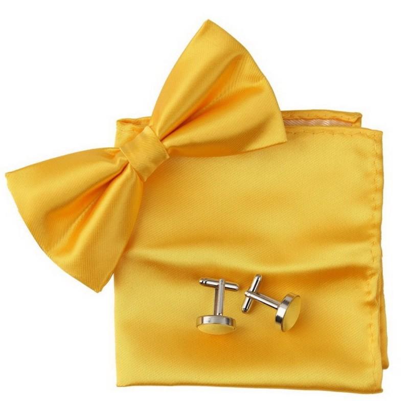 """noeud-papillon """"jaune-or"""", pochette et manchettes"""