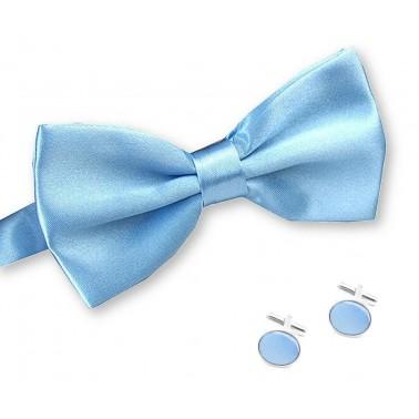 noeud-papillon bleu-clair et boutons de manchette