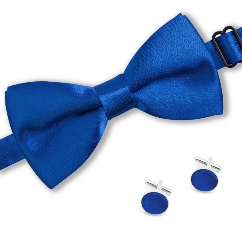 noeud-papillon bleu-roi et boutons de manchette