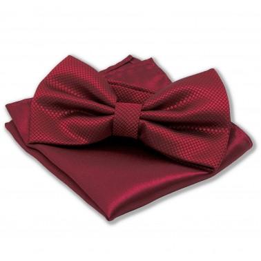Noeud-papillon rouge-bordeaux et pochette assortie