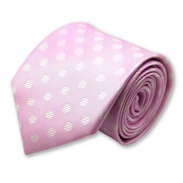 cravate rose à pois