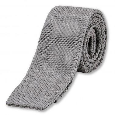 cravate tricotée grise