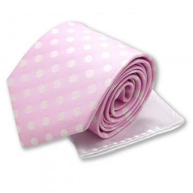 """Cravate """"rose-poudré"""" et pochette blanche"""