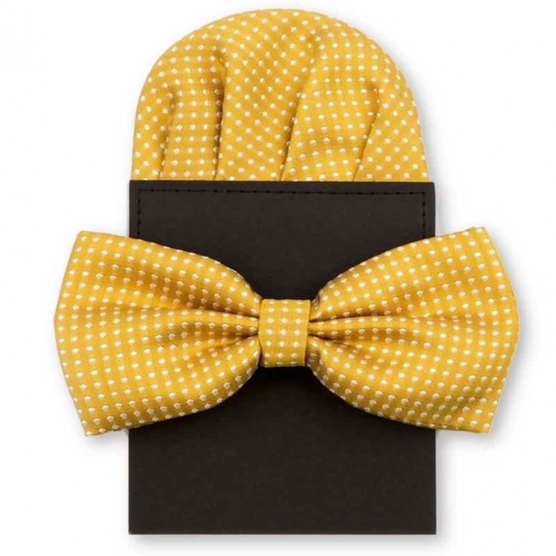"""Noeud-papillon """"jaune-moutarde"""" et pochette pliée"""
