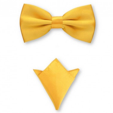 Noeud papillon jaune-orange et sa pochette