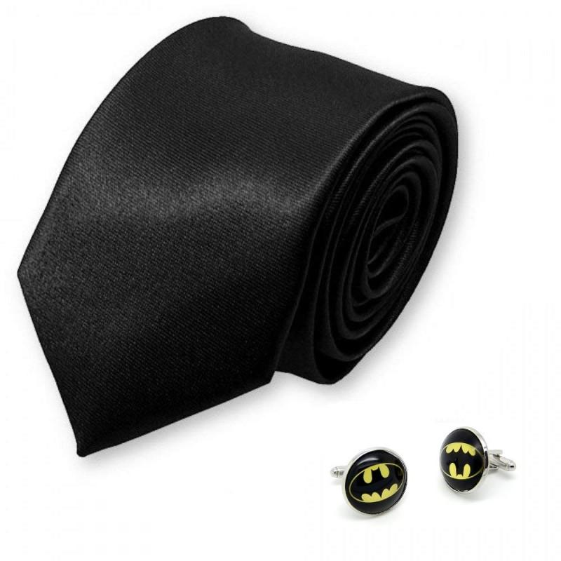 """Cravate slim noir et boutons de manchette """"Batman"""""""