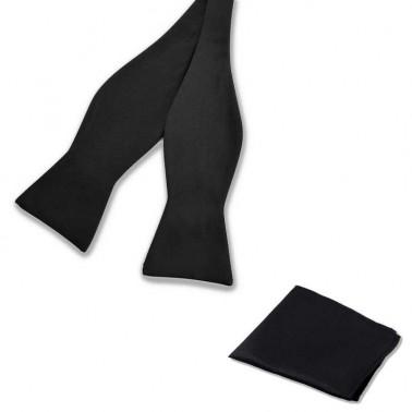 Noeud-papillon à nouer noir et pochette costume