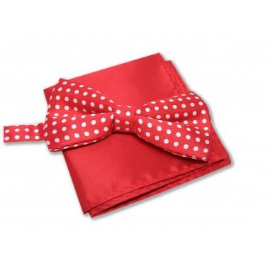 Noeud-papillon rouge à pois et pochette costume