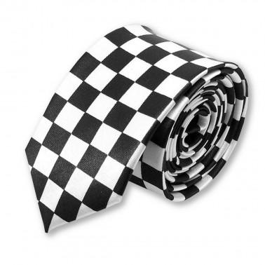 """cravate étroite """"Le carré noir et blanc"""""""