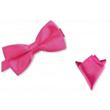 Noeud-papillon rose-fuchsia et pochette costume