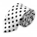 cravate slim blanche à pois noirs