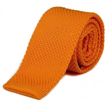 cravate tricot orange foncé