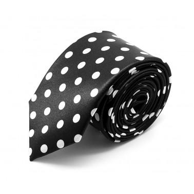 Cravate slim noire à gros pois