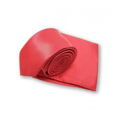 Cravate slim rouge et pochette assortie