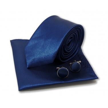 Cravate slim bleu-nuit, pochette, manchettes