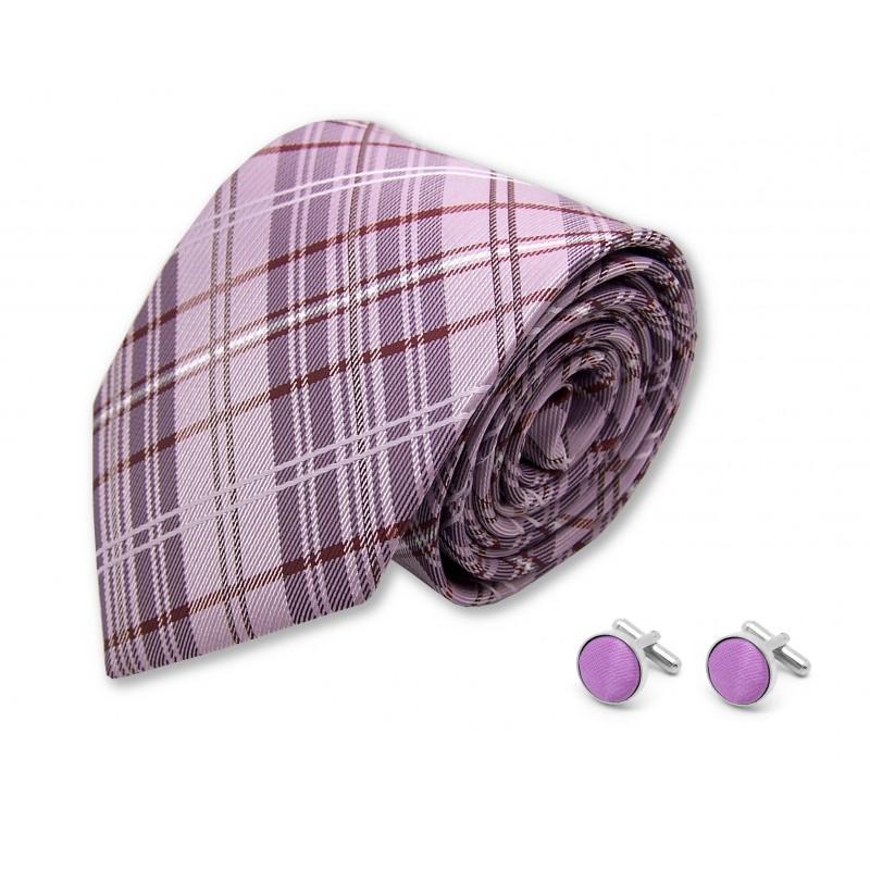 cravate écossaise et boutons de manchette mauve
