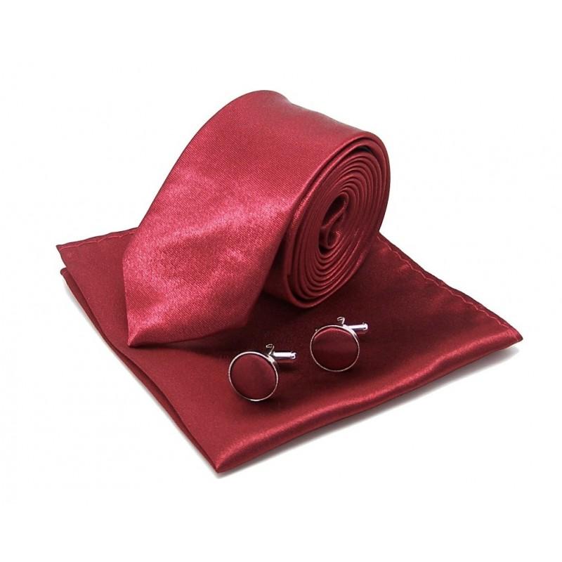 Cravate slim bordeaux, pochette et boutons de manchette