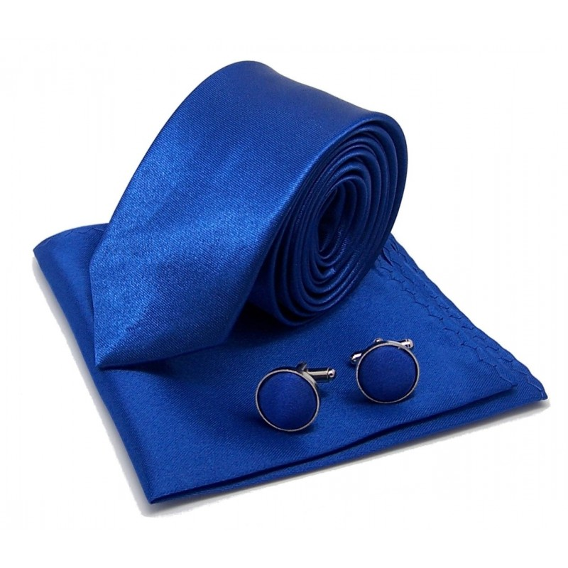 Cravate slim bleu-roi, pochette costume et boutons de manchette