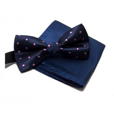 """Noeud-papillon noué """"bleu-marine pois rose"""" et pochette costume"""