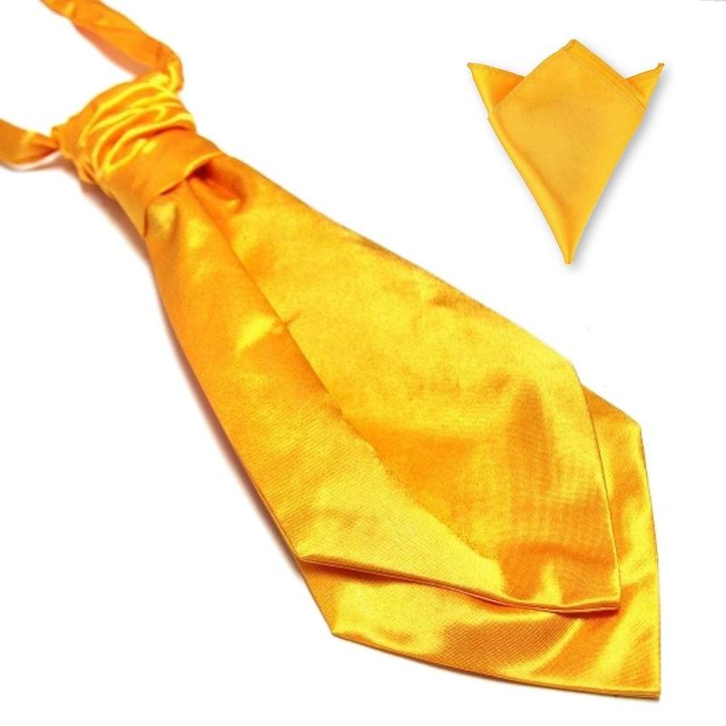 Lavallière jaune-or et sa pochette de costume assortie