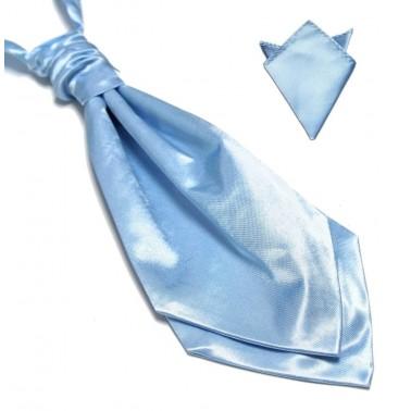 Lavallière bleu-ciel et sa pochette de costume assortie