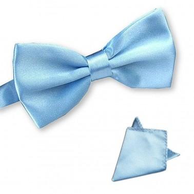 """Noeud-papillon noué """"bleu-clair"""" et pochette costume"""