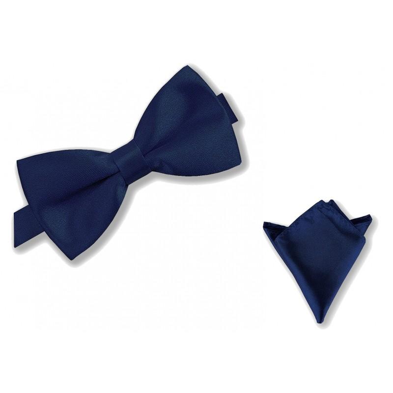"""Noeud-papillon noué """"bleu-marine"""" et pochette de costume"""