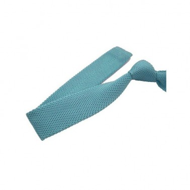 cravate tricot bleu-clair