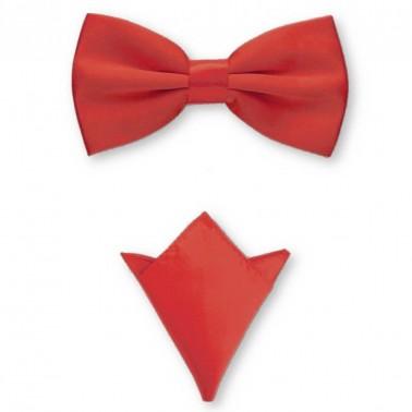 """Noeud-papillon noué """"rouge intense"""" et pochette de costume"""