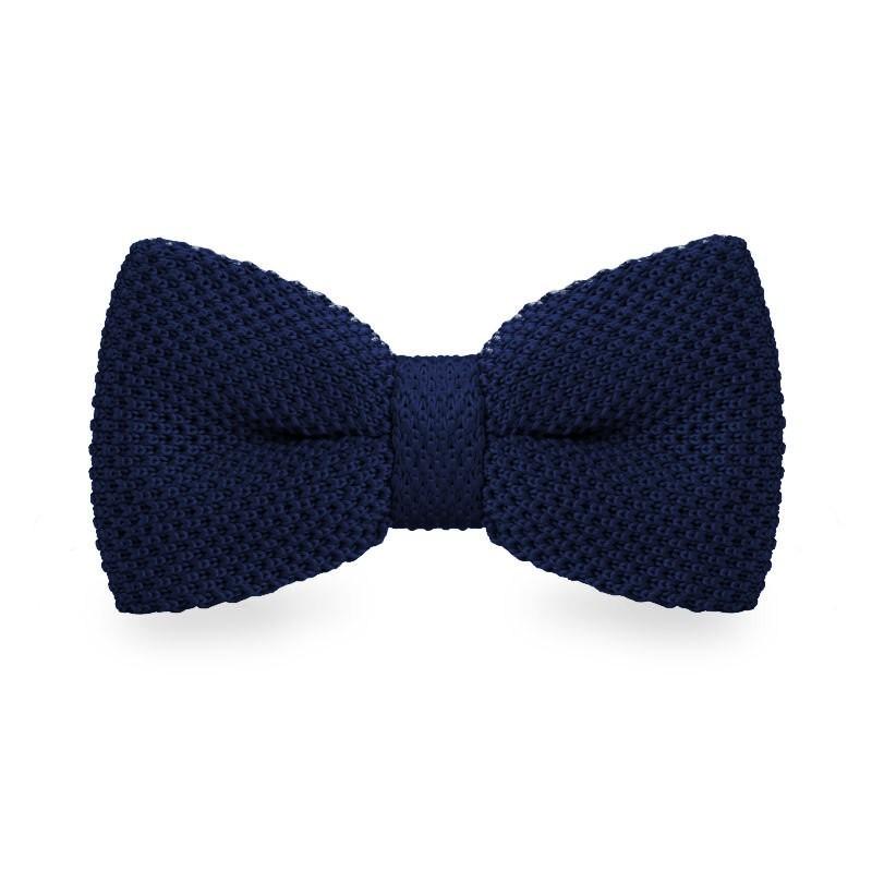 Noeud-papillon tricot bleu-marine