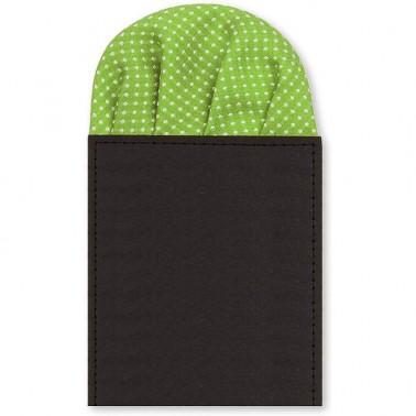 pochette pliée verte à pois
