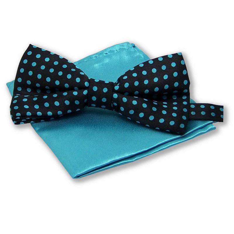 noeud papillon pois turquoise pochette costume bleu-turquoise