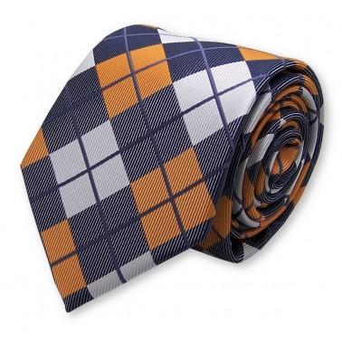 Cravate grise et orange vintage écossais