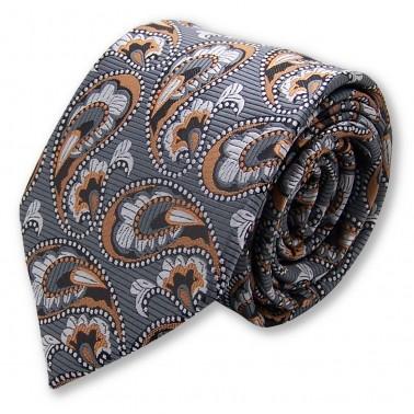 Cravate grise motif italien, faite main