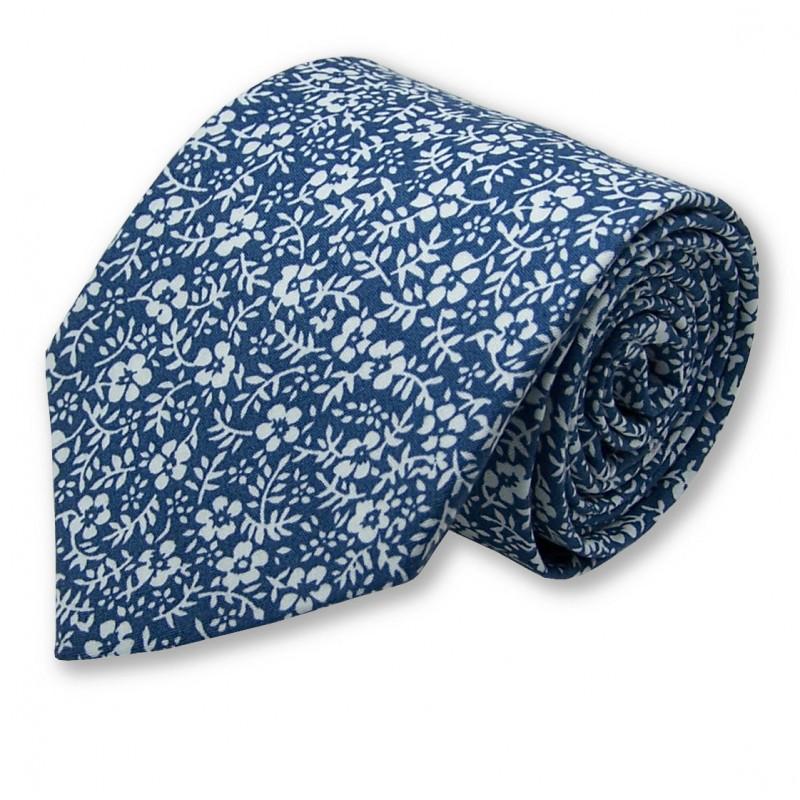 cravate bleu-pétrole, petites fleurs