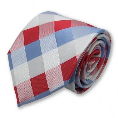 cravate rayée bleu-clair blanche et rouge
