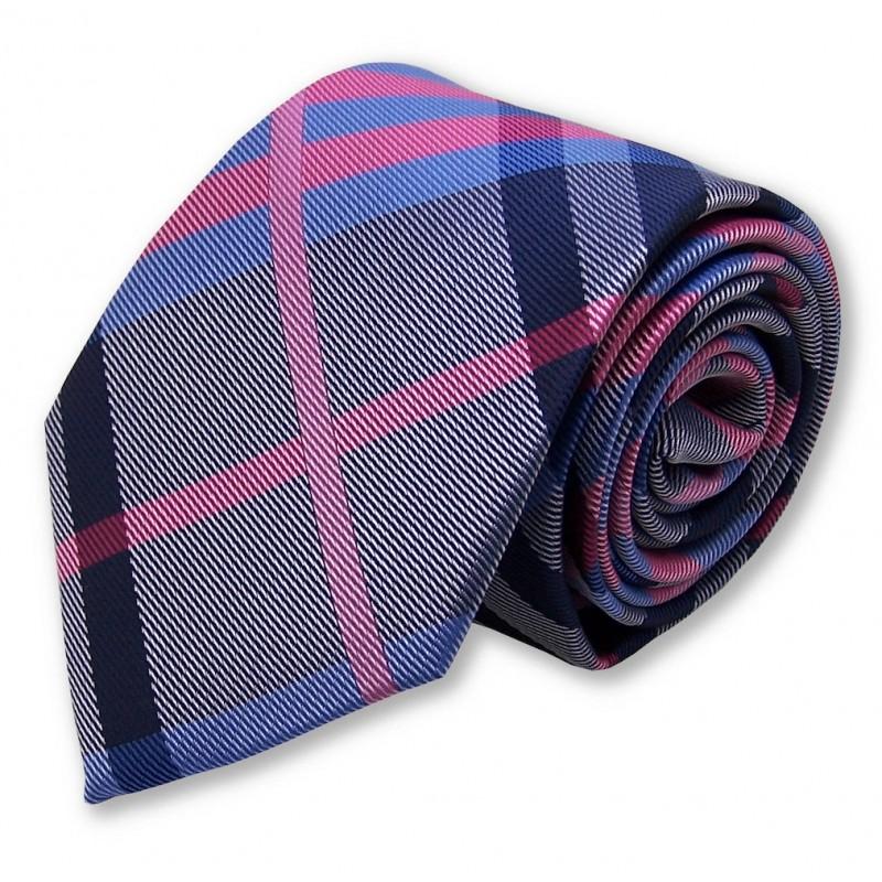 cravate écossaise fuchsia et bleue