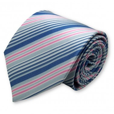 Cravate rose à rayures