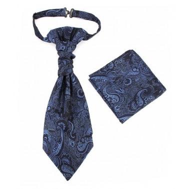 lavallière bleu-nuit et pochette costume