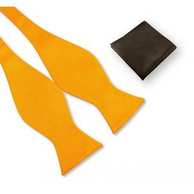 noeud-papillon jaune-orangé et pochette marron chocolat