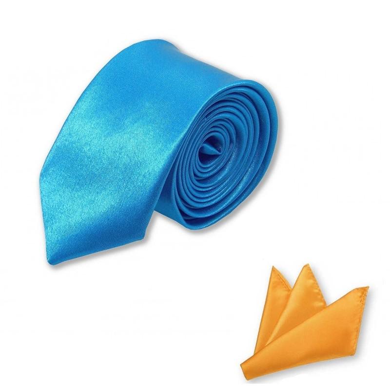 cravate slim bleu horizon et pochette jaune orangé